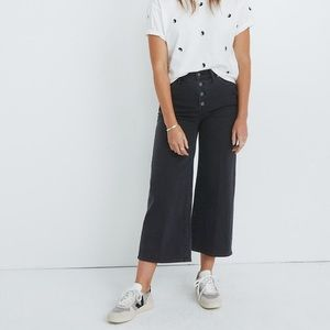 Wide leg crop pants: button fly edition